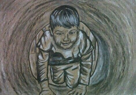Charcoal and chalk drawing