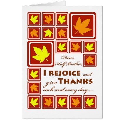 Thanksgiving for Half Brother Fall Leaf Tiles Card - thanksgiving greeting cards family happy thanksgiving