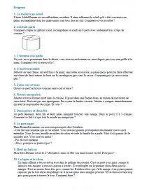 115 énigmes (logiques et mathématiques) et 61 devinettes (attrape-nigauds) avec leurs corrections.