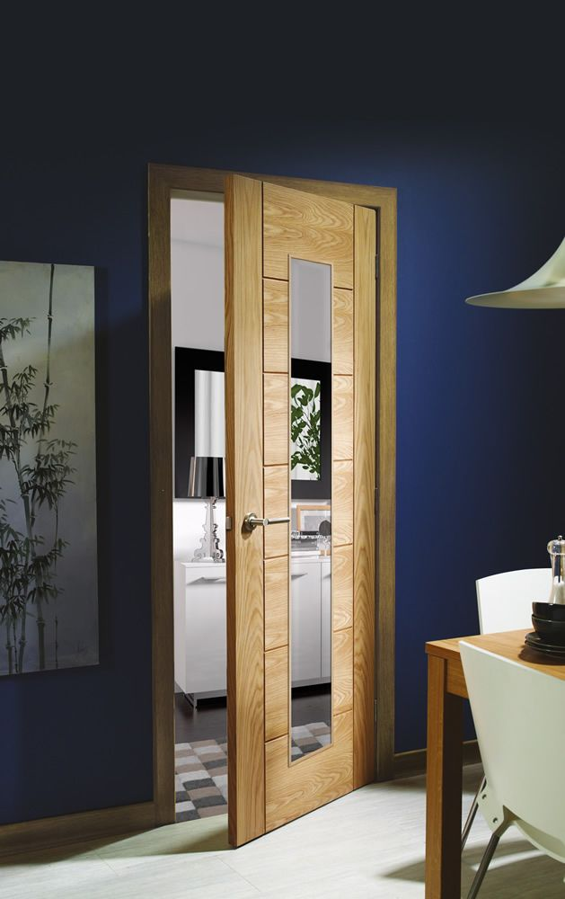 Palermo 1 Light Internal Oak Door with Clear Glass  Lifestyle Roomshot