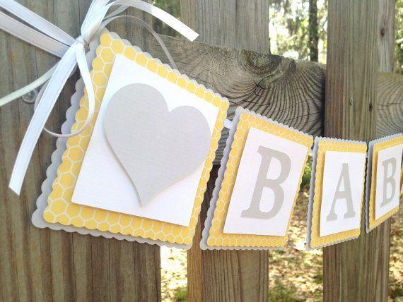White Grey and Yellow Baby Shower | Baby Banner - Yellow and Grey Baby Shower - Yellow and Grey Nursery ...