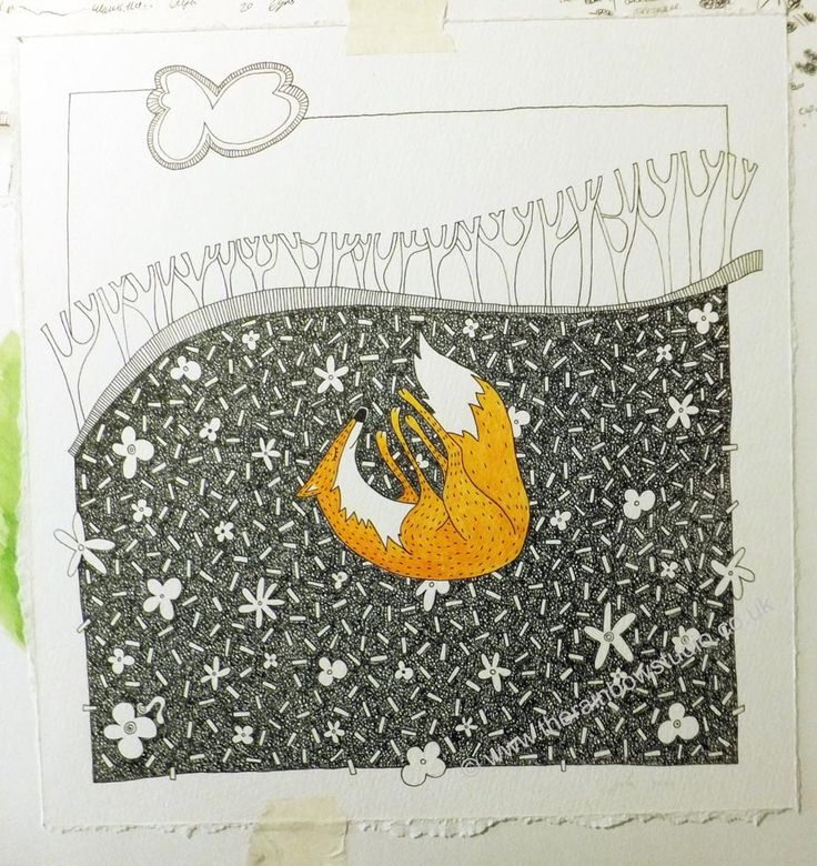 finished illustration ready for exhibiting. Sleeping Fox, Pen & Acrylic on heavy watercolour paper. By Emma Giles www.therainbowstudio.co.uk