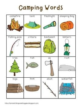 Writing Center Tools- Camping Words