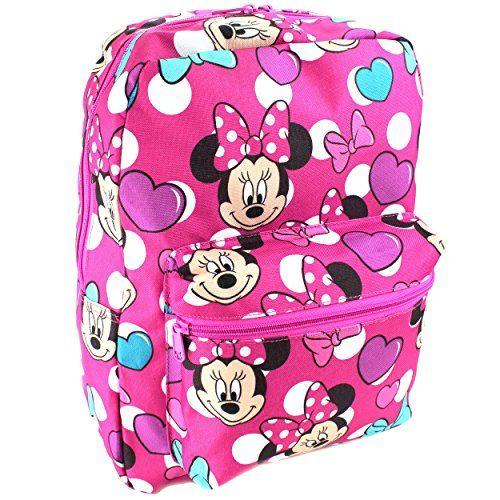 Disney Little Girls Minnie Mouse Print Backpack Book Bag School Supplies