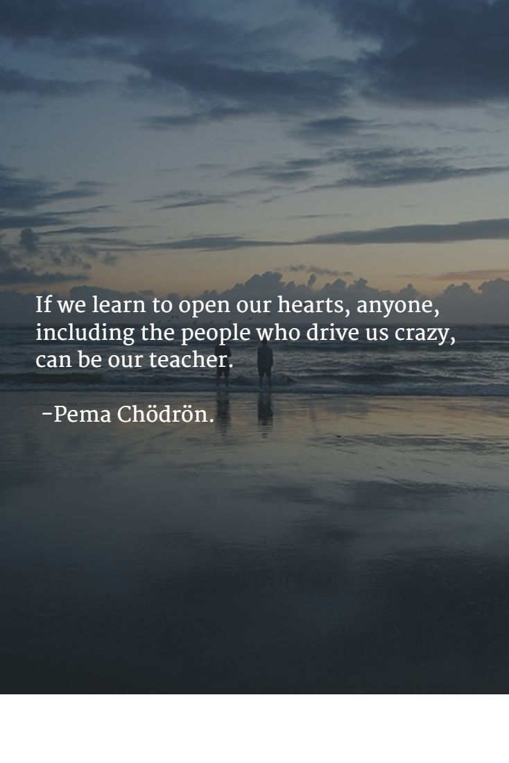 If we learn to open our hearts, anyone, including the people who drive us crazy, can be our teacher. -Pema Chödrön.