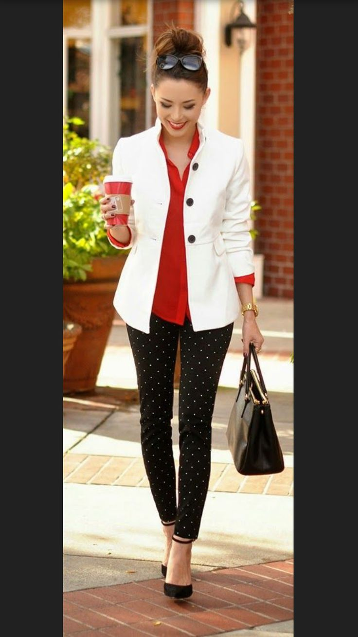 2017 business / work fashion! Take the stress out of shopping for work clothes & ask your Stitch Fix stylist to send you items like these. Delivered right to your door! #stitchfix #Sponsored  black & white polka dotted skinny pants, red shirt, white blazer.