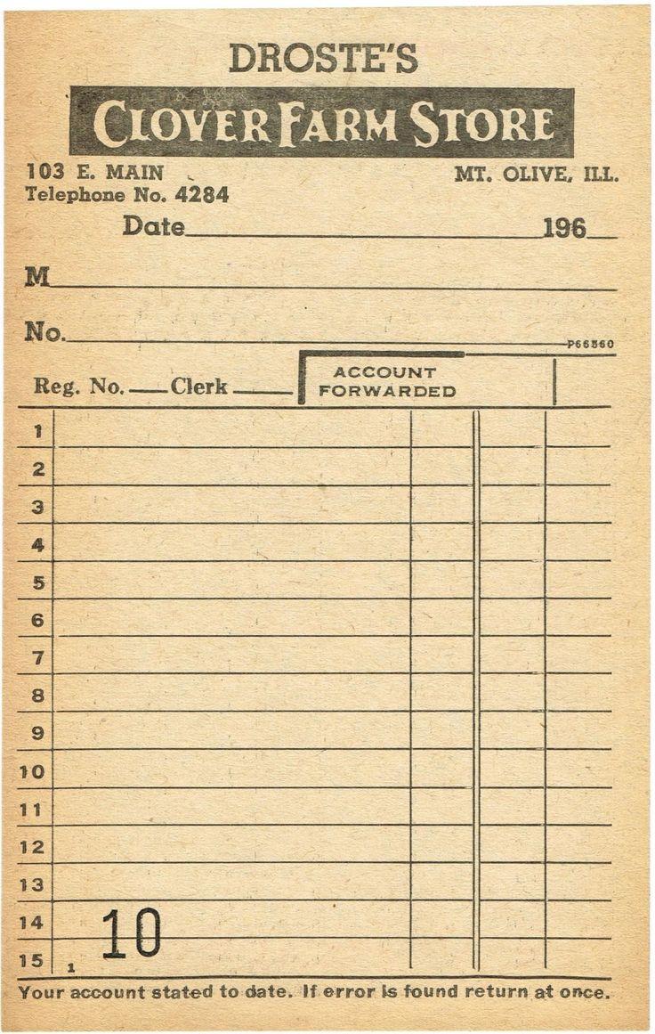 1960's receipt