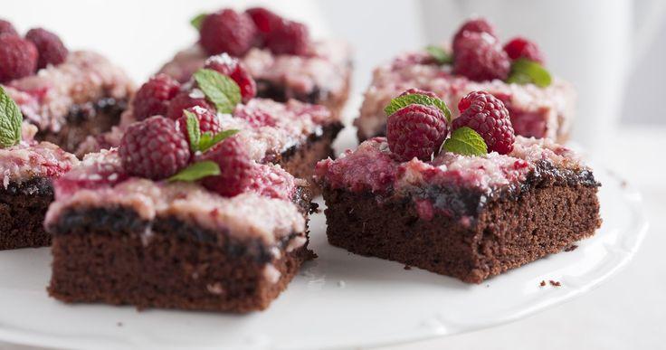 #brownie z malinami #fruits #raspberry #pie #cake #delektujemy