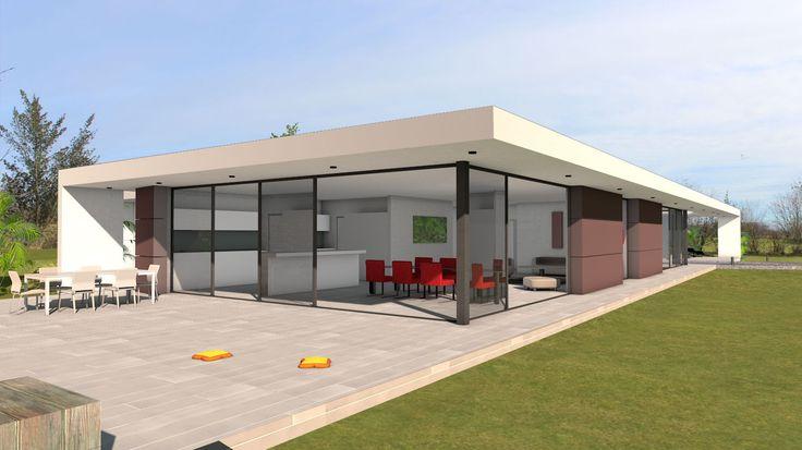 maison bois toit plat patio bardage naturel brise soleil new house
