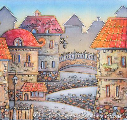 """Купить Батик """"Старый город с красными крышами"""" - Батик, старый город, красный, город, камешки"""