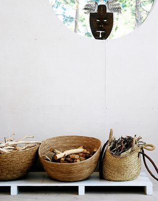 simple straw moroccan baskets  for logs { wood basket for the country house}