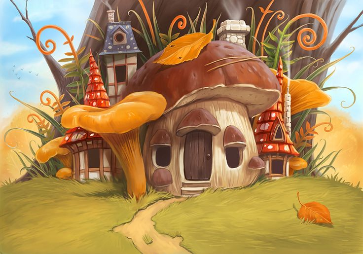 гриб домик картинки фэнтези козел олицетворяет