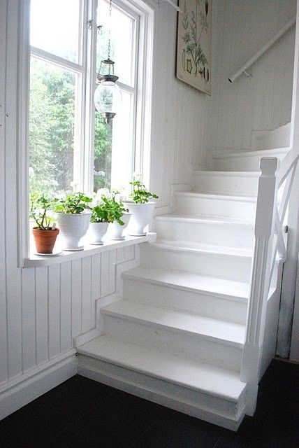 fresh white painted stairs