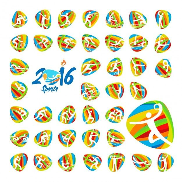 Rio 2016 olympic games summer sports icons set Free Vector