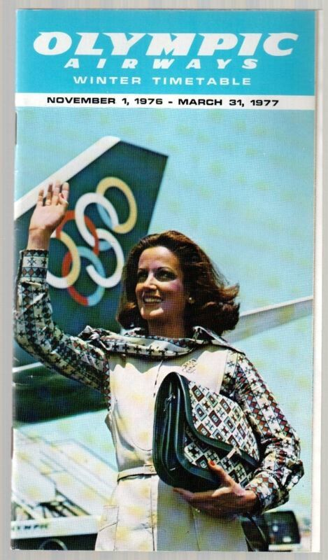 OLYMPIC AIRWAYS TIMETABLE WINTER 1976/77 OA CABIN CREW COVER