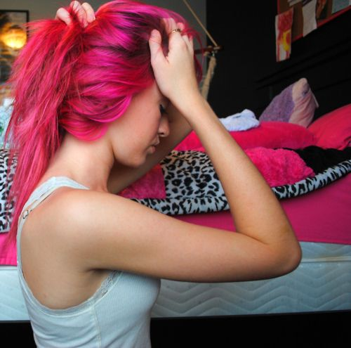 I saw a girl at a Gas station today with hot pink hair. It was gorgeous and so was she!
