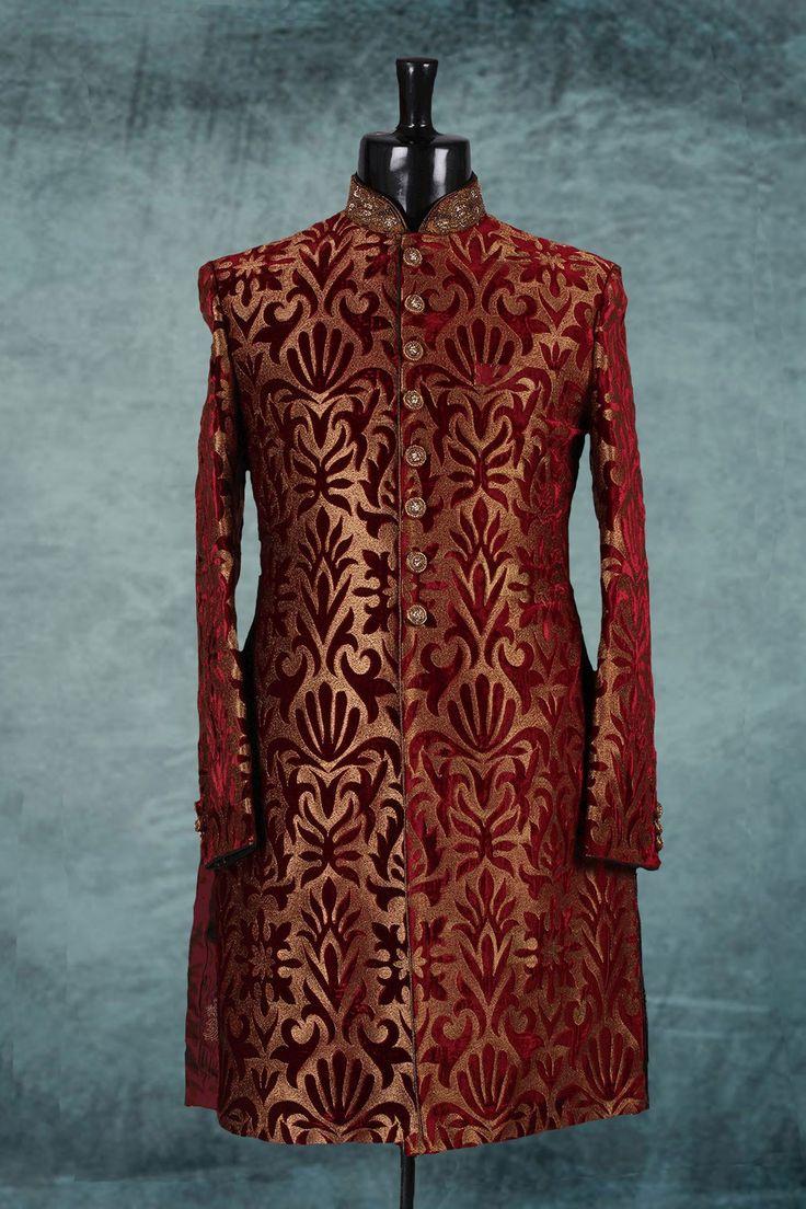 #Maroon & #gold marvellous velvet jodhpuri #sherwani with full sleeves -IW229