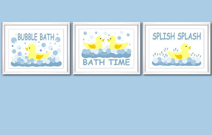 Rubber ducky fun bath prints blue yellow ducks for Rubber ducky bathroom ideas
