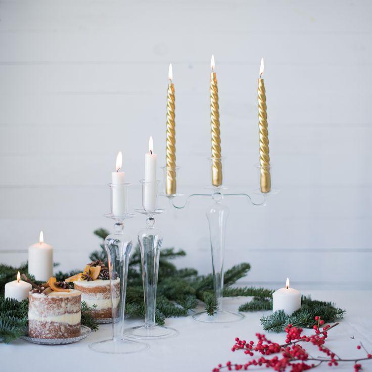 Portavelas de cristal preciosos para decorar tu mesa. Son de la Tienda de Renata