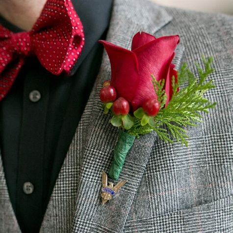 Red Rose and Berry Boutonniere