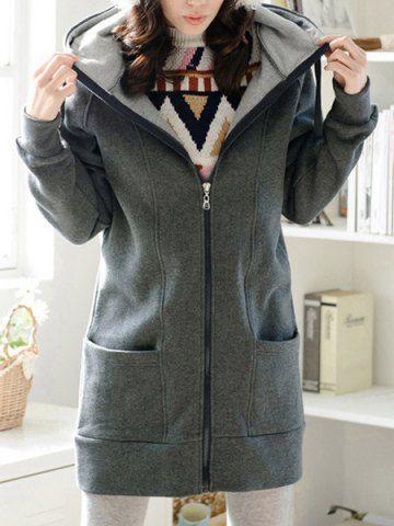 Casual Hooded Long Sleeve Pure Color Plus Size Women's Zip Up HoodieSweatshirts & Hoodies | RoseGal.com