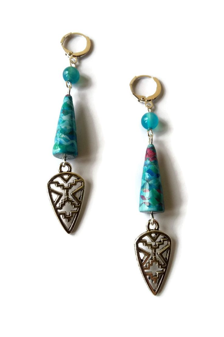 Boucles d'Oreilles Ethniques Bleues Perles en Papier Pierres Naturelles : Boucles d'oreille par cap-and-pap