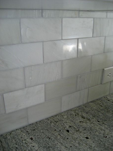 More white marble subway tile...