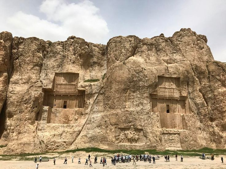 Another wonder in Iran - Naqsh-e Rustam. Its the tomps of the Achaemenian kings and the founder of Persepolis.  #visitiran #iran #naqsherostam
