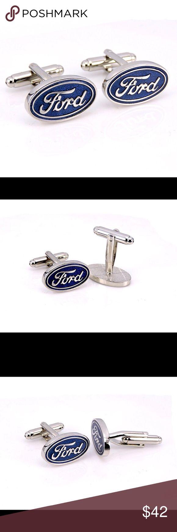 🛒Coming Soon Men's Ford Car Brand Cufflinks Cufflinks Silver plating car brand logo design Stainless Steel material men cufflinks Queen Esther Etc Accessories Cuff Links