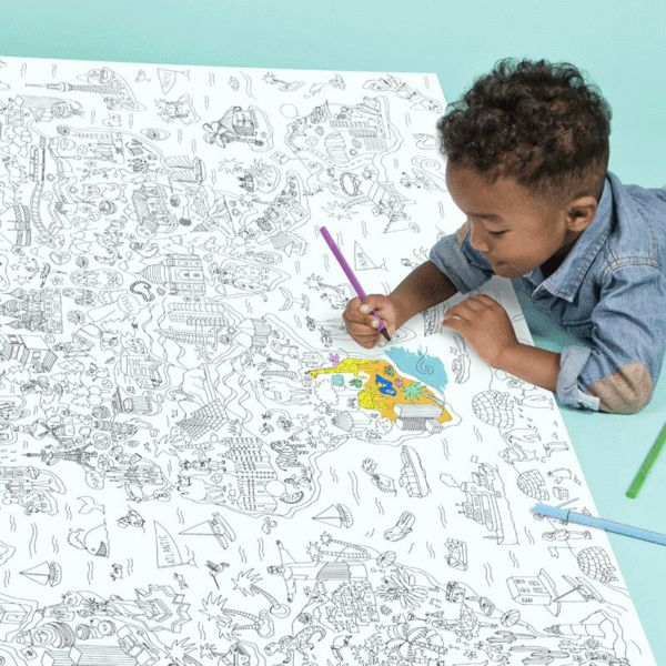 This giant coloring page is a great way to engage adults and children alike. The illustrations are quirky and fun to color, and the size invites multiple people to work at once.