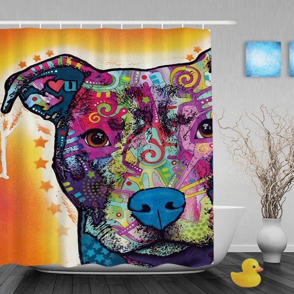 Colorful Pitbull Dog Waterproof Shower Curtain Lovely Animal Bathroom Curtains High Quality Home Decor Bath Curtains
