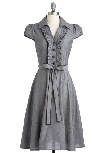About the Artist Dress in Grey. Currently one of the country's most respected young talents, this delightful dress grew up dreaming about one day becoming a world-renowned icon. #grey #modcloth