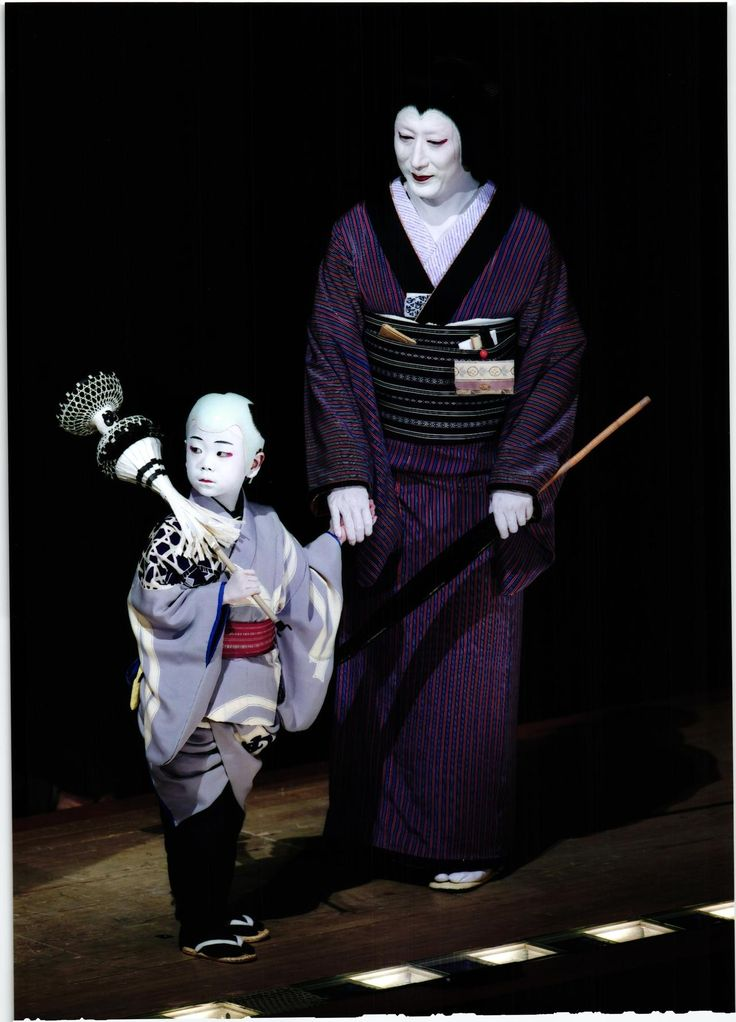 Kabuki characters are often drawn from Japanese folklore, and a major part of the Kabuki performance is the dramatic makeup worn by the actors. This makeup is applied heavily to create a brightly painted mask that uses colors in symbolic ways to indicate the age, gender, and class of each character, as well as their moods and personalities.