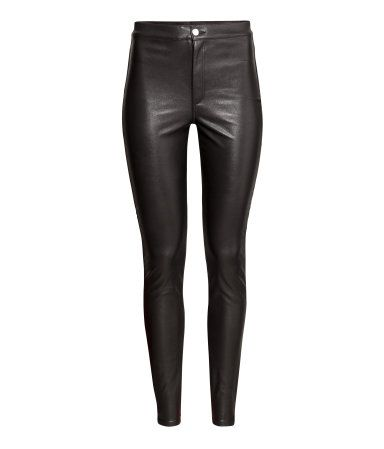 Black leather-like leggings with a high waist, stretch, & back pockets.  | H&M Divided