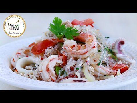 Ensalada de Fideos de soja estilo tailandés (ยำวุ้นเส้น)| Thai Glass Noodle Salad (Yam Woon-Sen) - YouTube