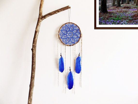 Bohemian dreamcatcher  blue brown wall decoration wall by wincsike