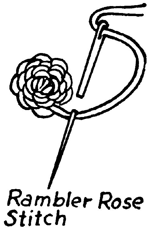 rambler rose stitch - Make 3 or 4 loose stitches for center. Using outline stitch, work around & around the center. Make center stitches loose so work stands up, then draw stitches tighter as work moves toward edge.