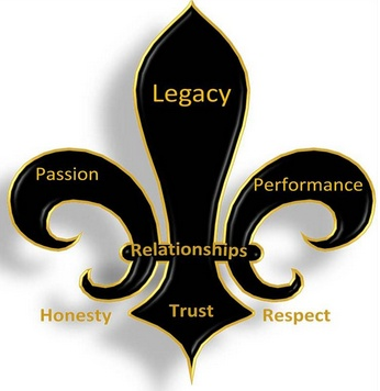 "The fleur-de-lis represents Legacy's values as well as my own. This symbol has acted as a guiding light for our group in everyday decision making and building a ""legacy"" for NDSU students to come.    Honesty and Respect create the tap root of Trust upon which lasting Relationships are built. It is only through these relationships that a  Legacy can be built through Passion and Performance."