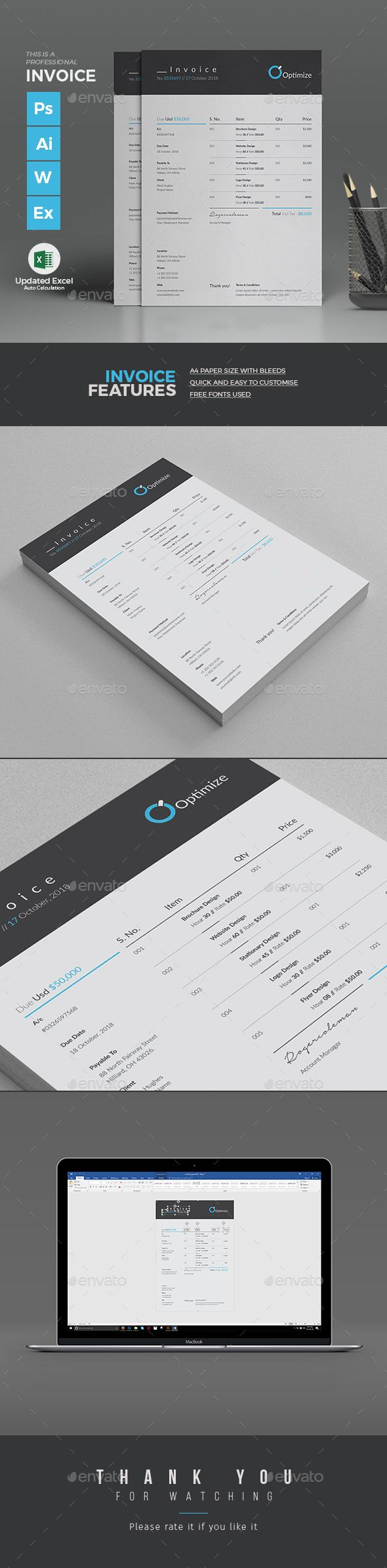 Clean / Corporate #Invoice #Excel Template with super modern and professional look. Elegant page designs are easy to use and customize, so you can quickly tailor-make your company invoice or personal invoice. Download here: https://graphicriver.net/item/invoice/18516303?ref=classicdesignp