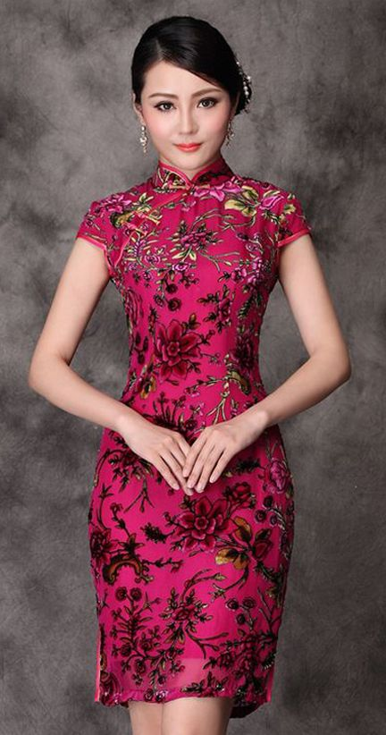 Rose red floral silk velvet short Chinese qipao dress Available size S-4XL