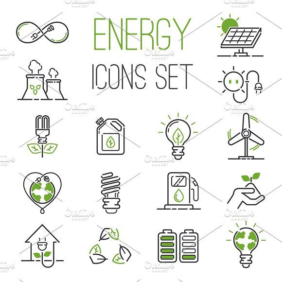 Energy Icons Vector Set Energy Logo Design Green Energy Logo Solar Energy