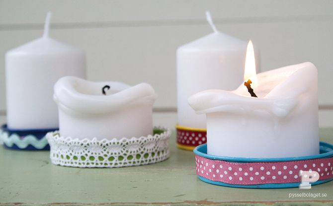 Coasters or Candle Plates - Made from revamping lids by painting and decorating with fabric trim.