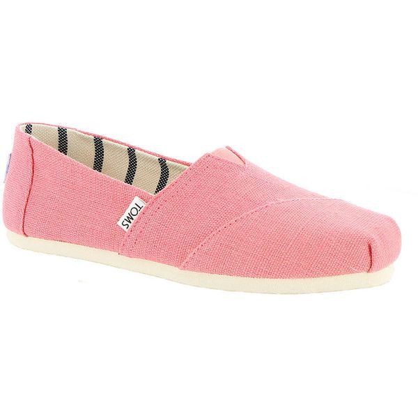 TOMS Seasonal Classics Venice Women's Pink Slip On ($49) ❤ liked on Polyvore featuring shoes, sneakers, pink, pink sneakers, tom trainer, elastic slip on shoes, slip-on sneakers and pink trainers