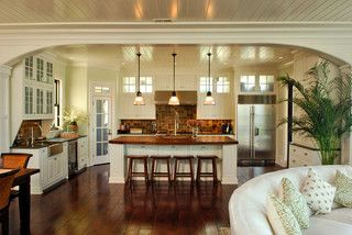 Arch frames view to kitchen - tropical - kitchen - charleston - by Christopher A Rose AIA, ASID