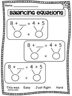 Balancing equations differentiated worksheets galore!