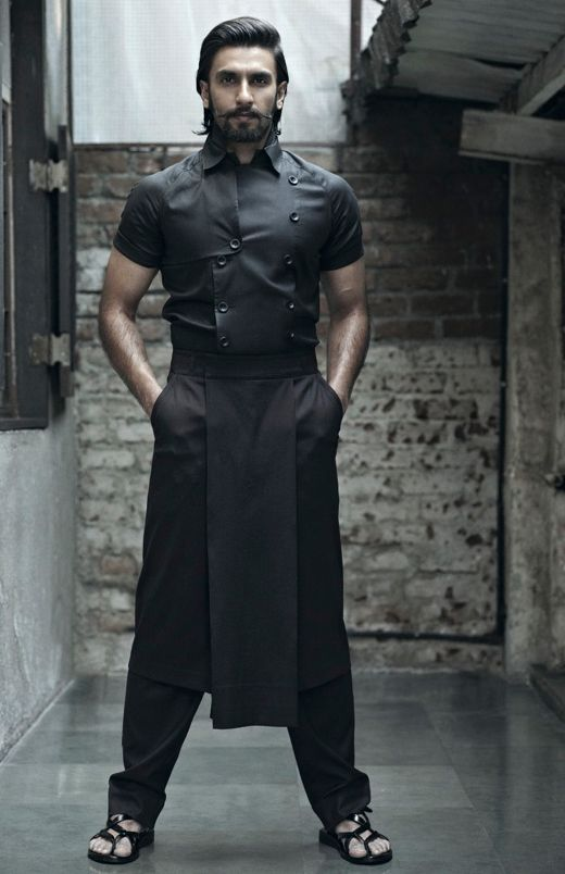 Ranveer Singh wearing Arjun Saluja for Platform magazine. (note: men's sandals in black.)