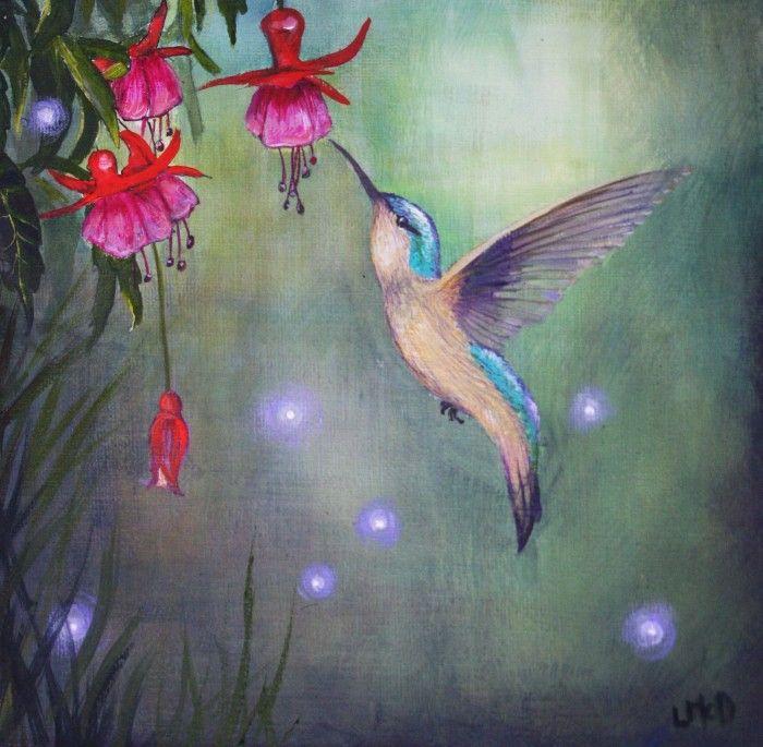 NIGHT GARDEN   acrylic on canvas by Llael McDonald   $99 available to buy at www.bluethumb.com.au/llael-mcdonald-art   #Animals #Australiana #Fantasy #Landscape #Nature #Art #Painting
