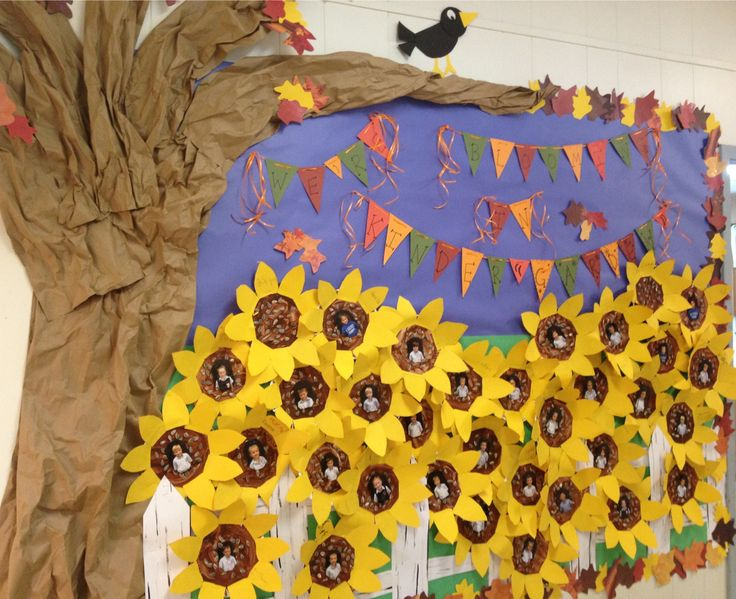 "We're BLOOMING in Kinder""GARDEN""!! Fun bulletin board idea. Fall themed with sunflowers!"