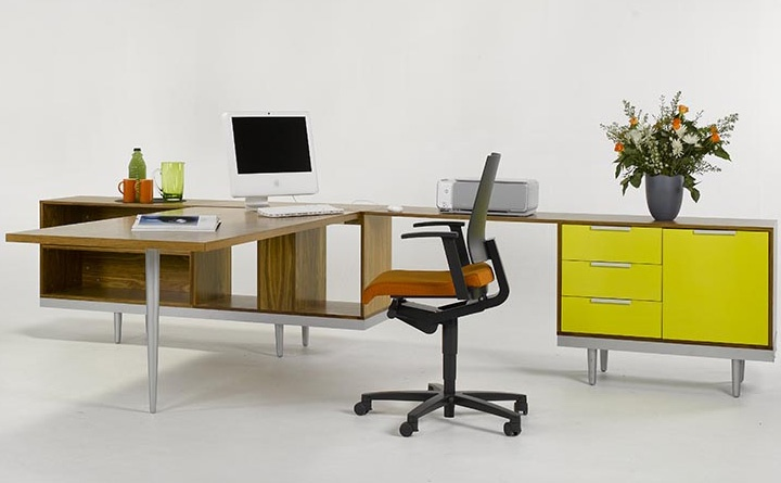 """Ergoform """"My Space"""" Office Furniture Executive workstation in Walnut veneer and sprayed frosted yellow. http://www.ergoform.co.za/individualworkstations.htm"""