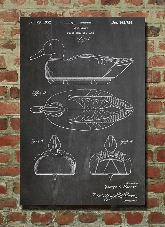 Duck Decoy hunting Patent Wall Art Poster by PatentPrints on Etsy, $6.99